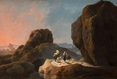 Jean Baptiste PILLEMENT (Lyon 1728 - 1808) Bergers dans un paysage de rochers Toile...