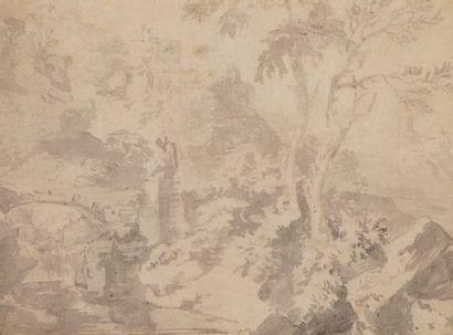 Ecole Hollandaise vers 1700 Paysage au pont Crayon noir et lavis gris 14,5 x 19,5...