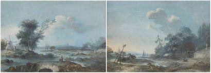 Attribué à Louis BELANGER (Paris 1736 - Stockholm 1816) Paire de paysages animés...