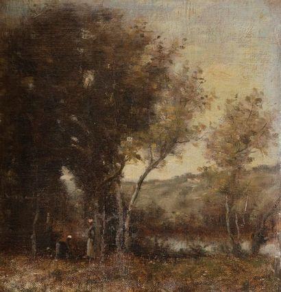 École Française du XIXe siècle Jeunes femmes dans la forêt près d'un lac Toile marouflée...