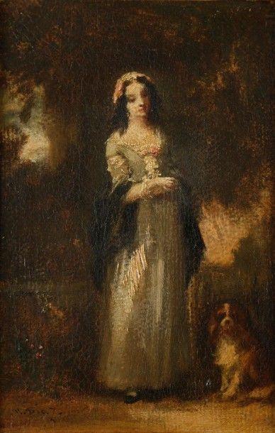 Narcisse DIAZ de la PENA (Bordeaux 1807 - Menton 1876 ) Jeune fille debout avec son...