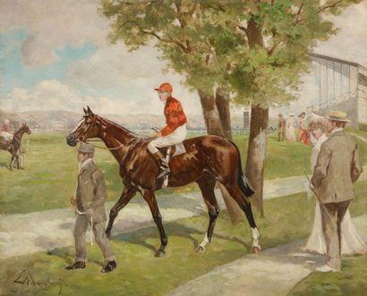Ernest BODOY (Actif au XIXe siècle) Avant la course Panneau d'acajou 37,5 x 46 cm...