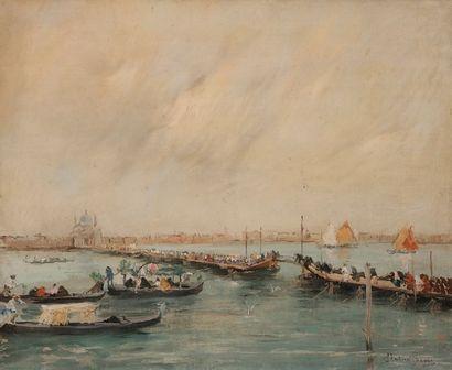 Italico BRASS (Gorizia 1870 - Venise 1943) Vue de la Salute, à Venise 38 x 48 cm...