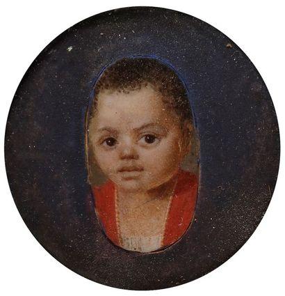 Très rare portrait d'enfant noir, fin du...
