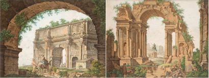 Ecole Italienne du XIXe Paire de ruines romaines animées Aquarelles gouachées 43...
