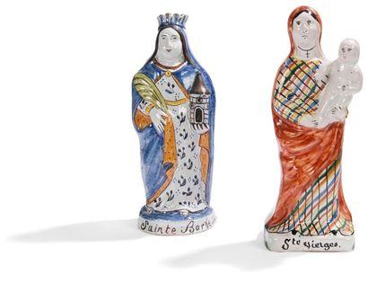 Statuette de sainte Barbe et la Vierge tenant...