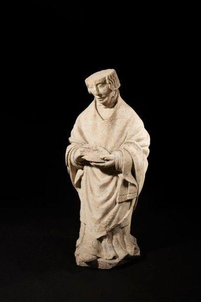 Saint Denis en pierre calcaire sculptée,...