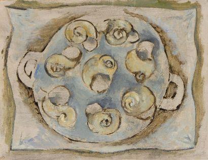 Francisco BORES [espagnol] (1898-1972) Les Escargots - Compotier, 1950 Huile sur...