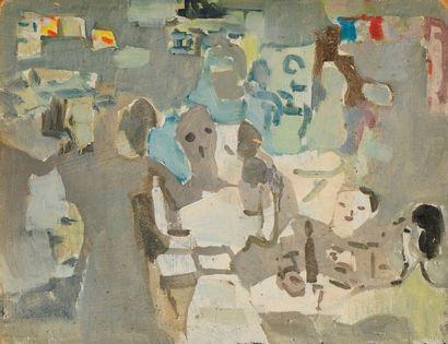 Francisco BORES [espagnol] (1898-1972) Personnages, 1961 Huile sur carton. Non signée....