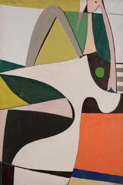 Gaston Louis ROUX (1904-1988) Femme accoudée, 1924 Huile sur toile. Signée en haut...
