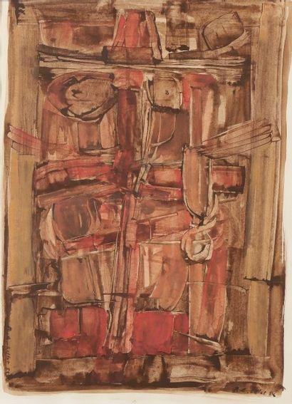 Roger Edgar GILLET (1924-2004) Composition, 1958 Gouache. Signée et datée deux fois....