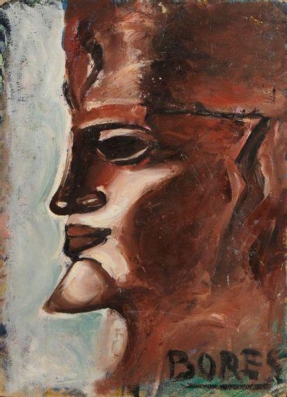 Francisco BORES [espagnol] (1898-1972) Nature morte - Profil, 1924 Huile sur carton....