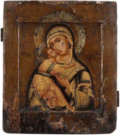 Icône de la Vierge de Vladimir. XVIIe siècle....