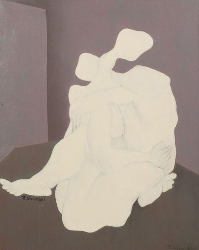 Robert NICOÏDSKI (1931-2001){CR}Couple enlacé{CR}Huile...