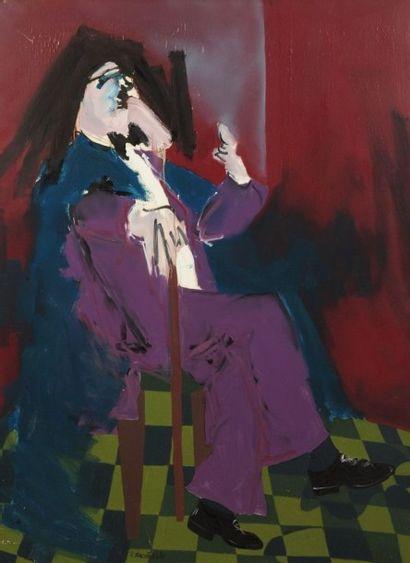 Robert NICOÏDSKI (1931-2001){CR}Homme assis{CR}Huile...
