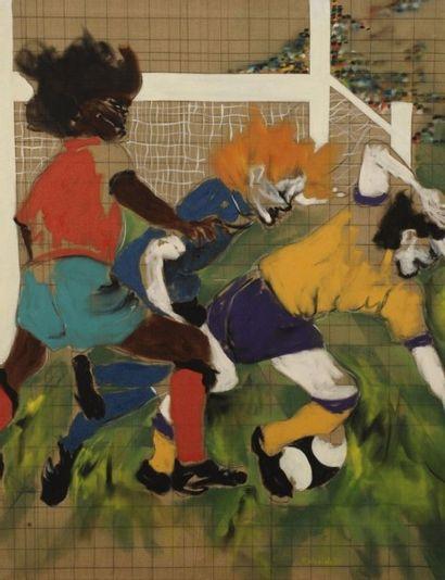 Robert NICOÏDSKI (1931-2001){CR}Les Footballeurs{CR}Huile...