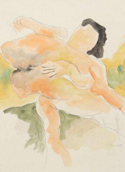 Robert NICOÏDSKI (1931-2001){CR}Nu solitaire{CR}Aquarelle sur traits de crayon.{CR}Signée...