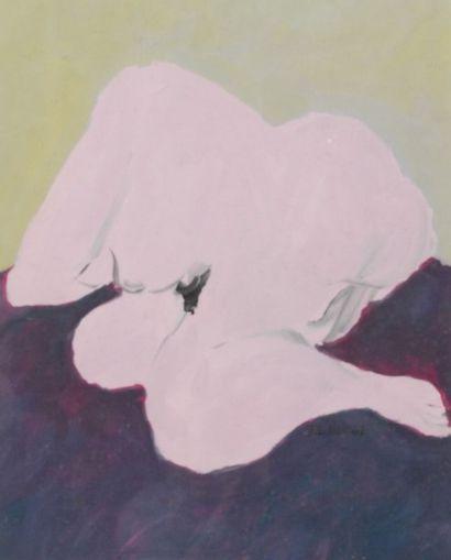 Robert NICOÏDSKI (1931-2001){CR}Nu rose{CR}Gouache.{CR}Signée...