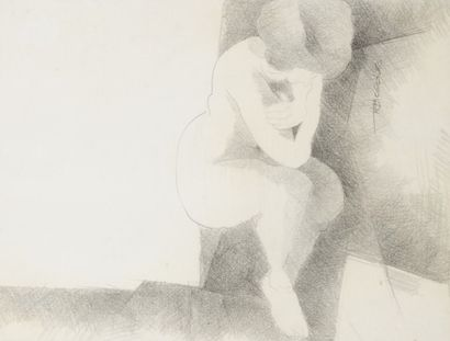 Robert NICOÏDSKI (1931-2001){CR}Études de nus{CR}2 dessins au crayon.{CR}Signés...