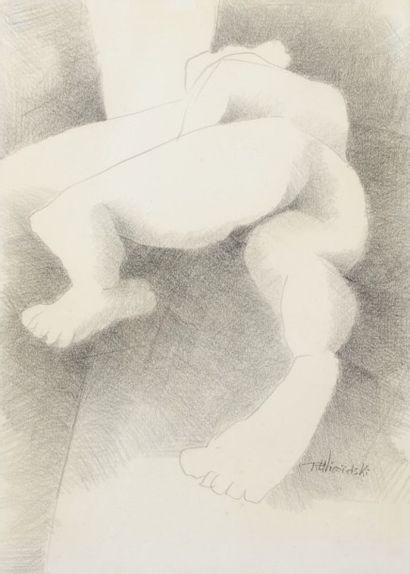 Robert NICOÏDSKI (1931-2001){CR}Étude du nu{CR}Dessin au crayon.{CR}Signé en bas...
