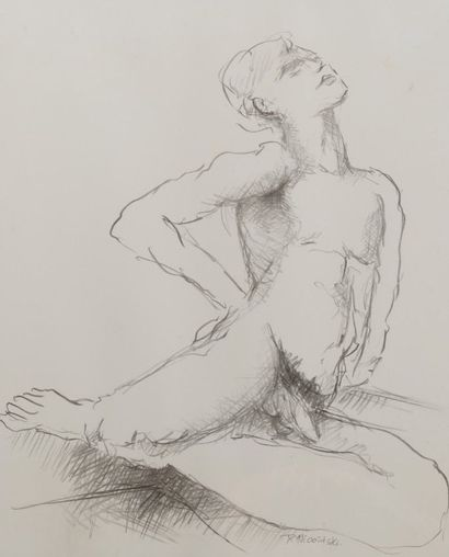 Robert NICOÏDSKI (1931-2001){CR}Femme pensive - Nu{CR}2 dessins au crayon.{CR}Signés...