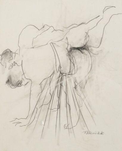 Robert NICOÏDSKI (1931-2001){CR}Sumos{CR}2 dessins.{CR}Signés.{CR}43 x 48 cm et...