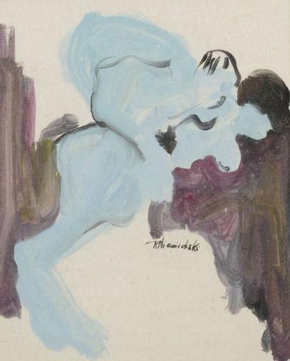 Robert NICOÏDSKI (1931-2001){CR}Études de nus{CR}1 aquarelle et 1 dessin au crayon.{CR}Signés.{CR}54...