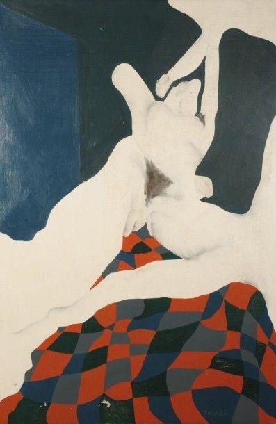 Robert NICOÏDSKI (1931-2001){CR}Nu au patchwork{CR}Huile sur toile.{CR}Signée en...