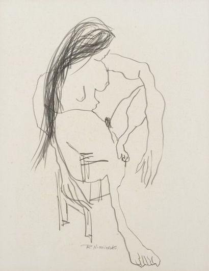 Robert NICOÏDSKI (1931-2001){CR}Études de nus{CR}2 dessins au crayon.{CR}Signés.{CR}67...