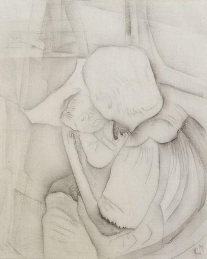 Robert NICOÏDSKI (1931-2001){CR}Maternité - Nu{CR}2 crayons sur toile.{CR}L'un monogrammé.{CR}81...