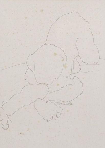 Robert NICOÏDSKI (1931-2001){CR}Études de nu{CR}2 dessins au crayon.{CR}Signés.{CR}48...
