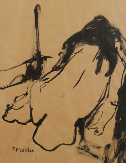 Robert NICOÏDSKI (1931-2001){CR}Études de nu{CR}3 dessins.{CR}Signés.{CR}Formats...