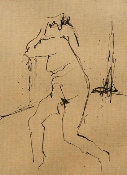 Robert NICOÏDSKI (1931-2001){CR}Études de nu{CR}2 dessins à l'encre ou lavis.{CR}L'un...