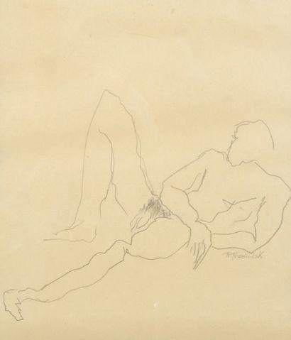 Robert NICOÏDSKI (1931-2001){CR}Nus{CR}2 dessins au crayon ou lavis.{CR}Signés.{CR}56...