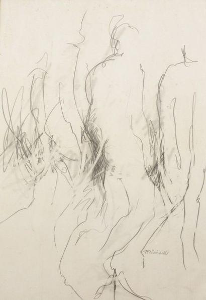 Robert NICOÏDSKI (1931-2001){CR}Études de nus{CR}2 dessins au crayon.{CR}Signés.{CR}(Taches).{CR}101...
