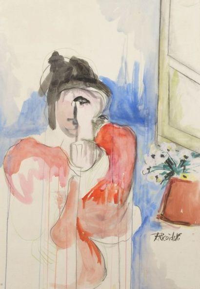 Robert NICOÏDSKI (1931-2001){CR}Femme accoudée{CR}Aquarelle.{CR}Signée...
