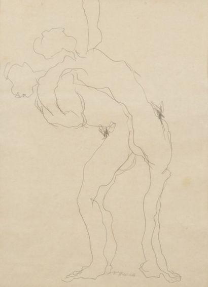 Robert NICOÏDSKI (1931-2001){CR}Études de nus{CR}2 dessins au crayons.{CR}Signés.{CR}67...