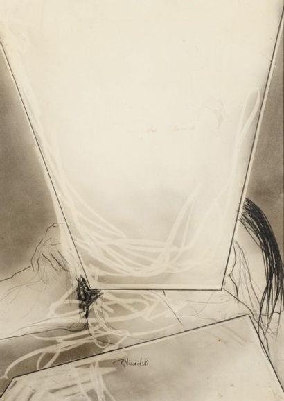 Robert NICOÏDSKI (1931-2001){CR}Compositions{CR}2 fusains et estompes sur panneau.{CR}Signés.{CR}(Taches).{CR}101...