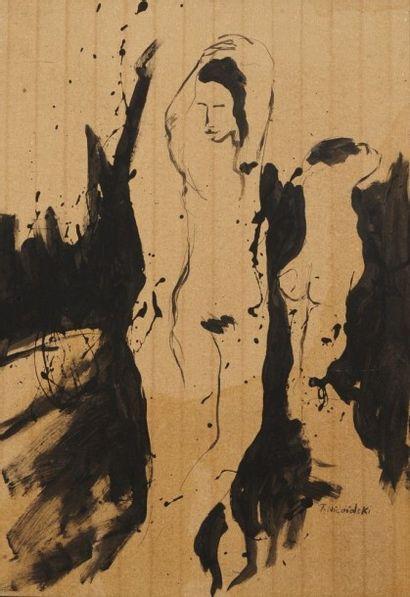 Robert NICOÏDSKI (1931-2001){CR}Nu debout{CR}Acrylique...