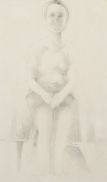 Robert NICOÏDSKI (1931-2001){CR}Femme assise{CR}Dessin à la mine de plomb. {CR}Signé...