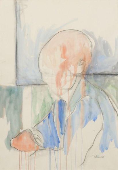 Robert NICOÏDSKI (1931-2001){CR}Personnage{CR}1 aquarelle et 1 fusain et estompe.{CR}Signés.{CR}101...