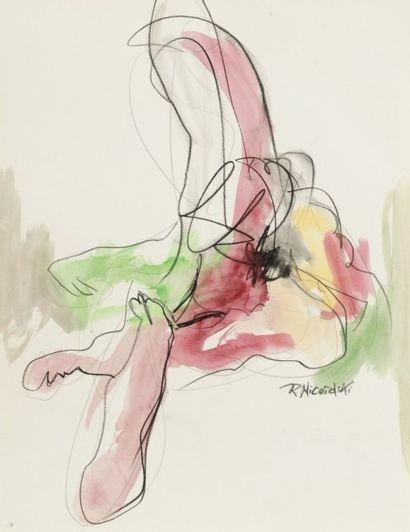 Robert NICOÏDSKI (1931-2001){CR}Études de nu{CR}3 aquarelles et fusains.{CR}Signés.{CR}60...