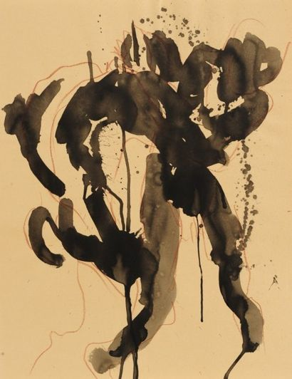 Robert NICOÏDSKI (1931-2001){CR}Études de nu{CR}3 dessins à l'encre.{CR}Signés.{CR}62,5...