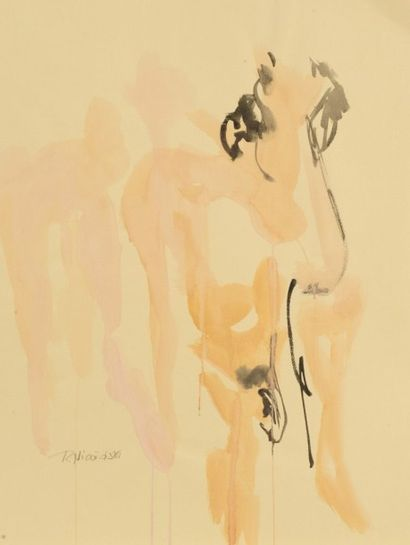 Robert NICOÏDSKI (1931-2001){CR}Études de nu{CR}2 aquarelles.{CR}Signés.{CR}62 x...