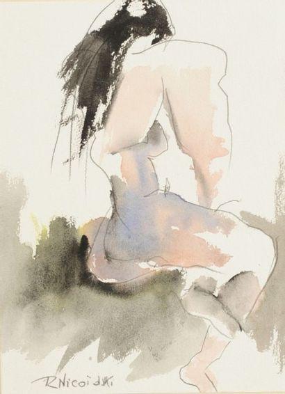 Robert NICOÏDSKI (1931-2001){CR}Études de nu{CR}3 aquarelles et crayon.{CR}Signés.{CR}36...