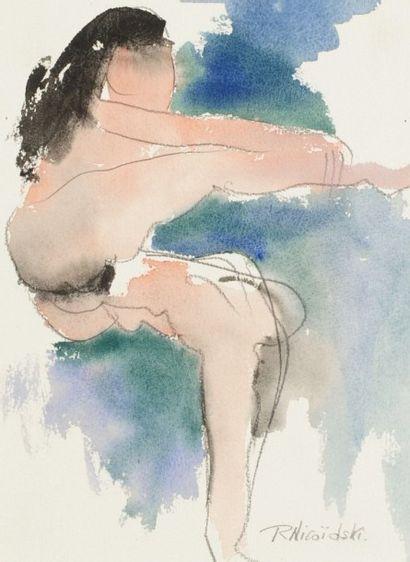 Robert NICOÏDSKI (1931-2001){CR}Études de nu{CR}4 aquarelles et crayon.{CR}Signés.{CR}35...