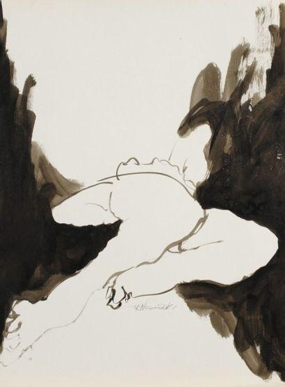 Robert NICOÏDSKI (1931-2001){CR}Études de nu{CR}2 lavis d'encre.{CR}Signés.{CR}63...