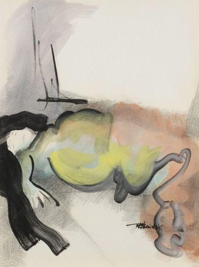 Robert NICOÏDSKI (1931-2001){CR}Nus{CR}2 gouaches et crayon.{CR}Signées.{CR}63 x...