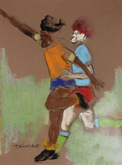 Robert NICOÏDSKI (1931-2001){CR}Footballeurs{CR}3 pastels gras.{CR}Signés.{CR}63...
