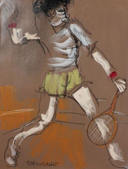 Robert NICOÏDSKI (1931-2001){CR}Tennismans{CR}3 pastels gras.{CR}Signés.{CR}63 x...